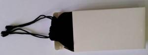 slim powerbank in velvet pouch in white gift box